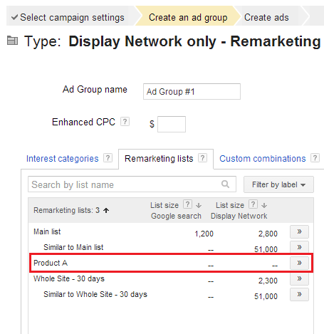 Google Adwords remarketing list selection