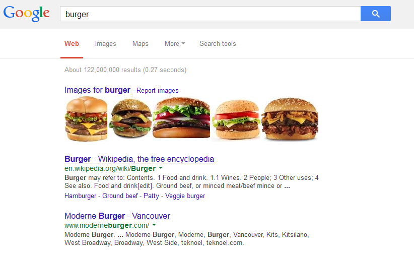 Google Search Burger
