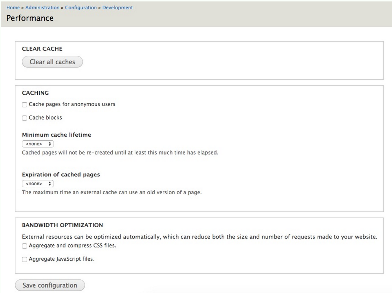 Drupal Performance settings page