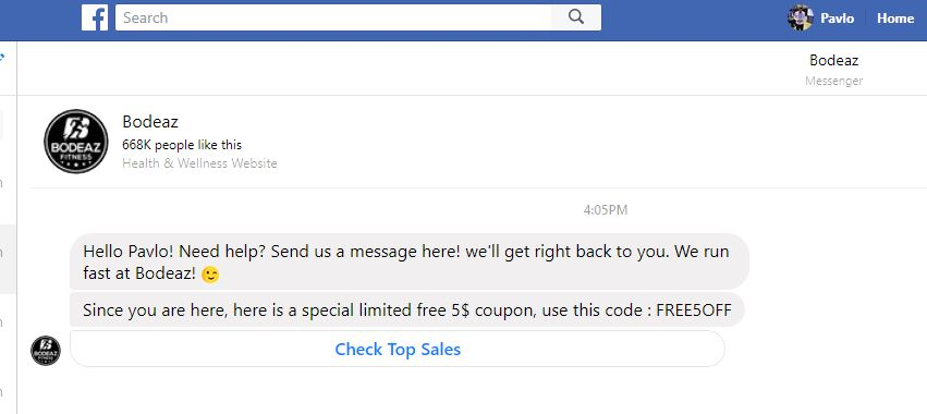 facebook messenger customer follow up example