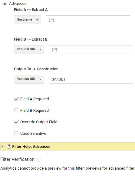 advanced settings for filter in google analytics to track subdomain